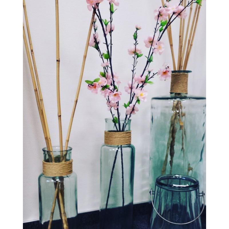Grand vase en verre 100% recyclé NOA avec Raffia hauteur 55 cm - Vases, Lanternes, décoration