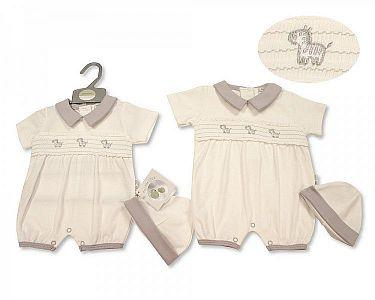 Smocked Baby Romper with Hat - Zebra  -