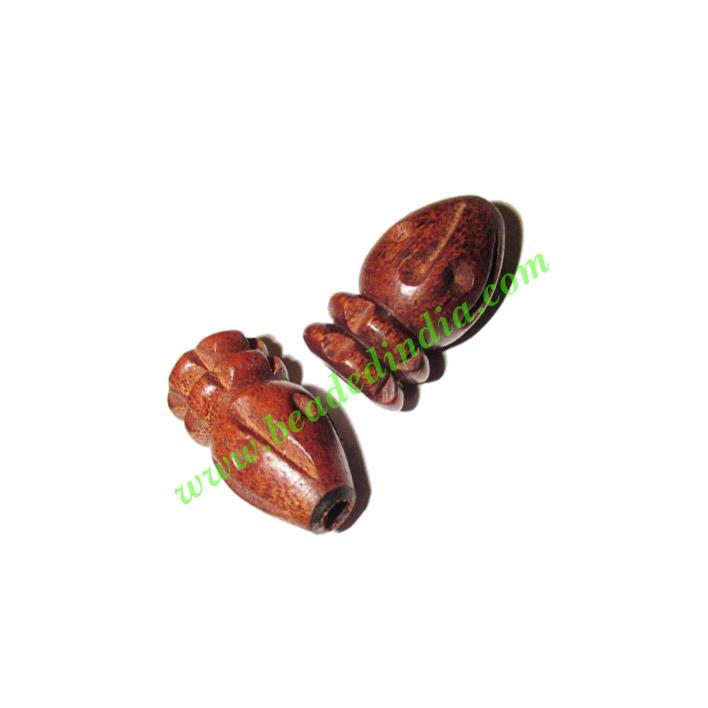 Rosewood Beads, Handcrafted designs, size 11x21mm, weight ap - Rosewood Beads, Handcrafted designs, size 11x21mm, weight approx 1.8 grams
