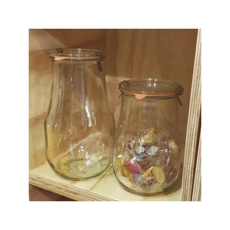 4 vasi WECK Corolle® 1750 ml  - con coperchi in vetro e guarnizioni (graffe non incluse)