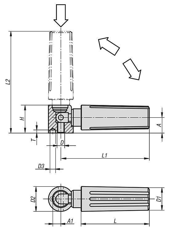 Poignée cylindrique de sécurité avec retour automatique - Volants, manivelles et poignées