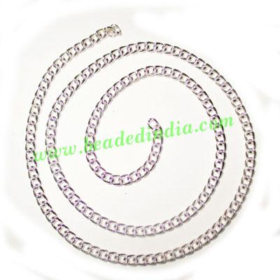 Silver Plated Metal Chain, size: 1x3.5mm, approx 42.4 meters - Silver Plated Metal Chain, size: 1x3.5mm, approx 42.4 meters in a Kg.