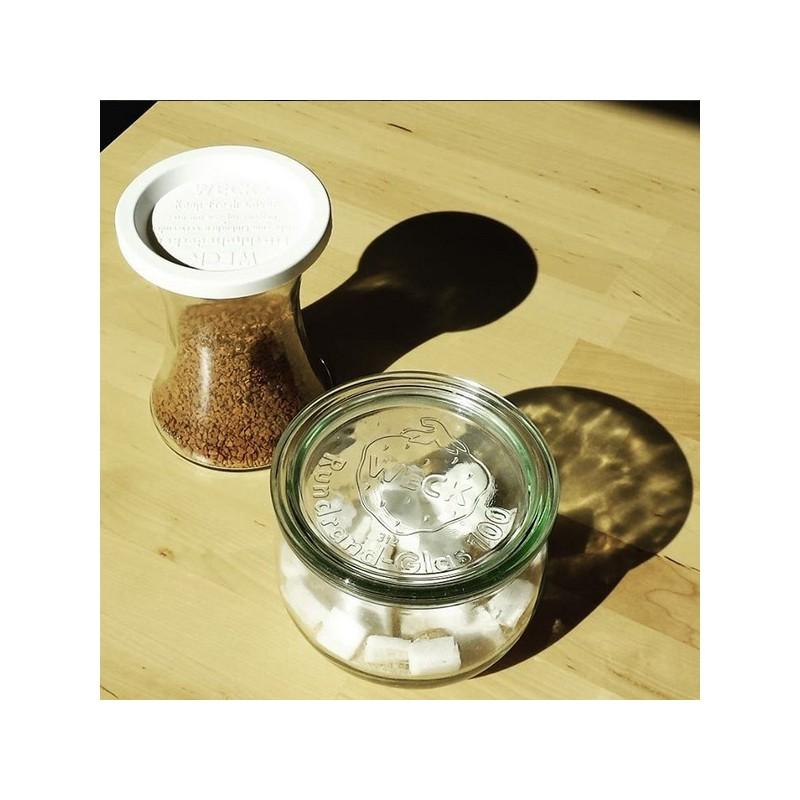 6 tarros WECK Bobine® 370 ml  - con tapas y gomas (clips no incluidos)