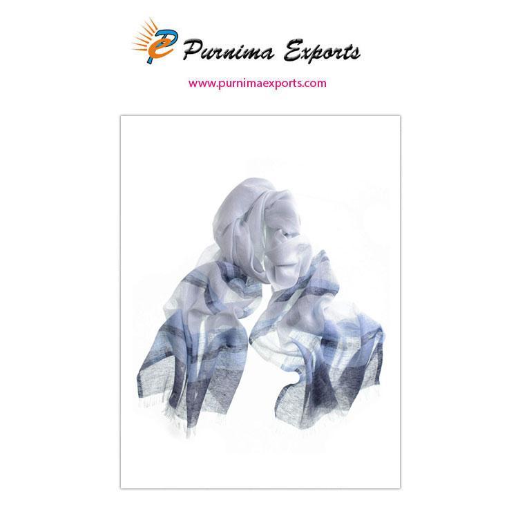 Foulard en lin bleu et blanc  -