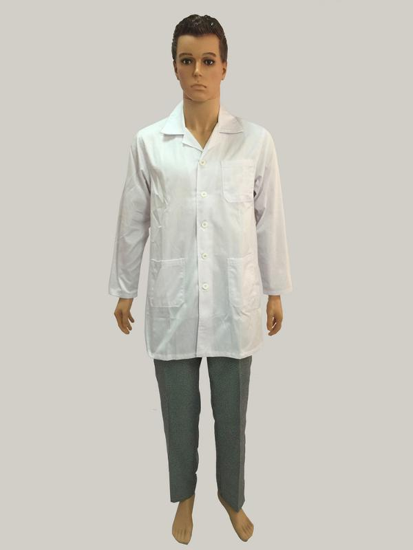 LABORATORY COAT - 1 left chest pockets,2 down pockets,plastic buttons on front