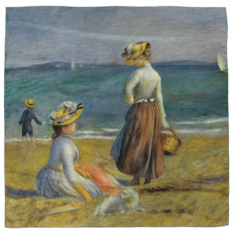 Carré En Twill De Soie Imprimé Renoir Silhouettes Sur La Plage - Ciel - LES GRANDS PEINTRES