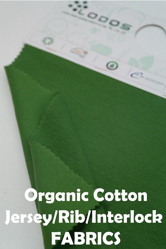 Organic Cotton Rib GOTS  - Organic Cotton Rib in Plain/Yarndyed/Printed/Solid colors.