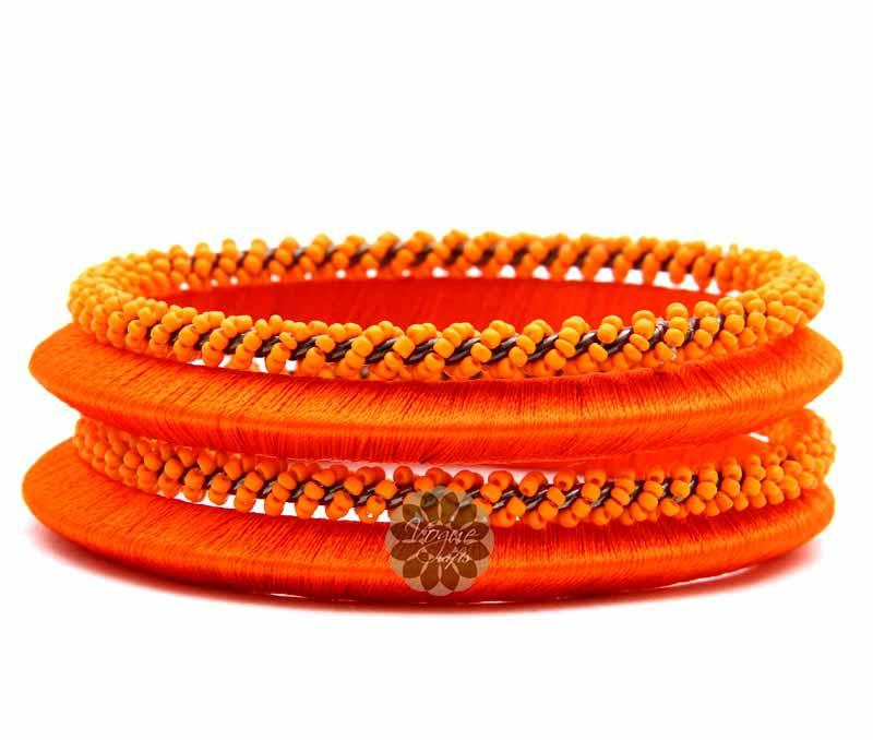Beaded Orange Bangle Stack -