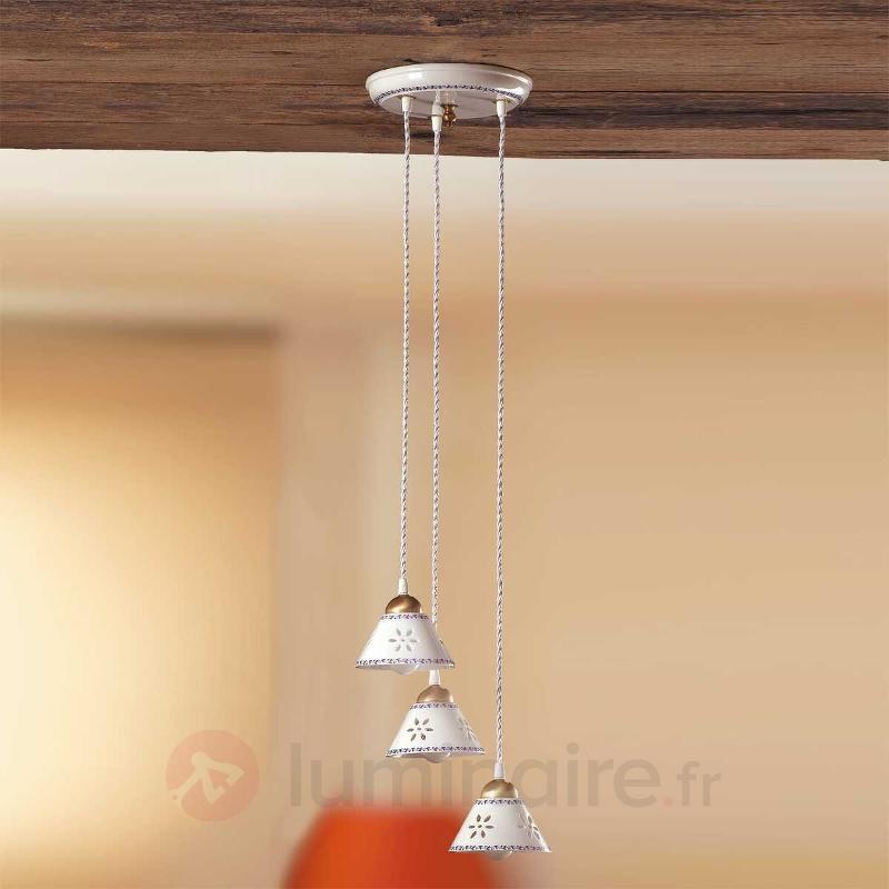 Suspension 3 lampes NONNA en céramique blanche - Suspensions rustiques