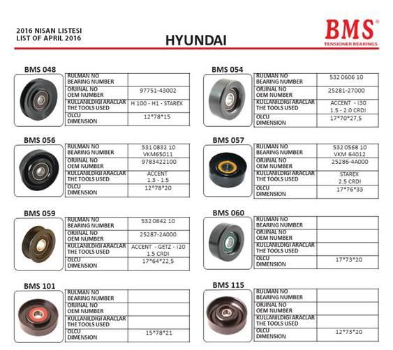 BMS - HYUNDAI tensioner bearings