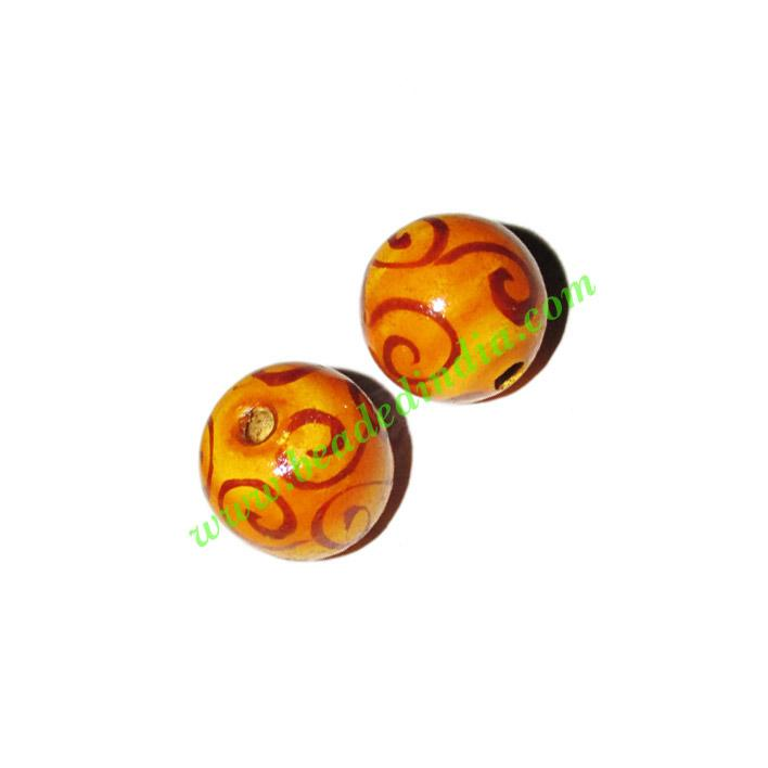 Wooden Painted Beads, Fancy Design Hand-painted beads, size  - Wooden Painted Beads, Fancy Design Hand-painted beads, size 15mm, weight approx
