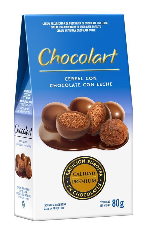 Perles de céréales entourées de chocolat au lait