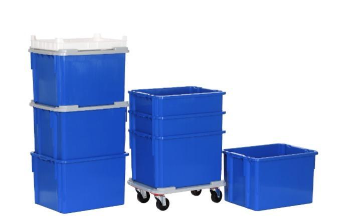 Caixas de plástico empilháveis e encaixáveis - 620x500mm, 100L (fechada e/ou gradeada