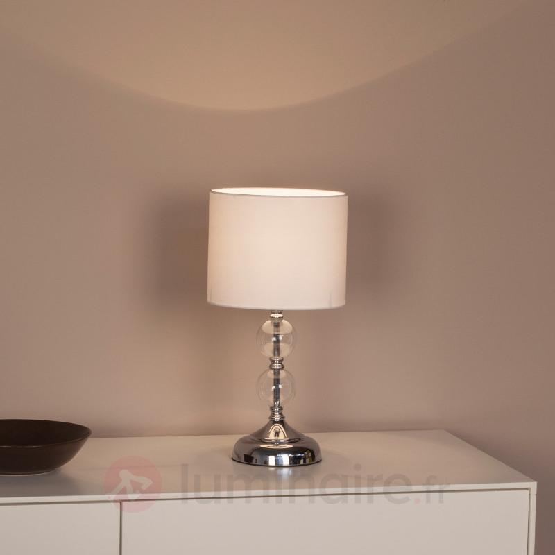 Lampe à poser décorative Rom, abat-jour textile - Lampes à poser en tissu