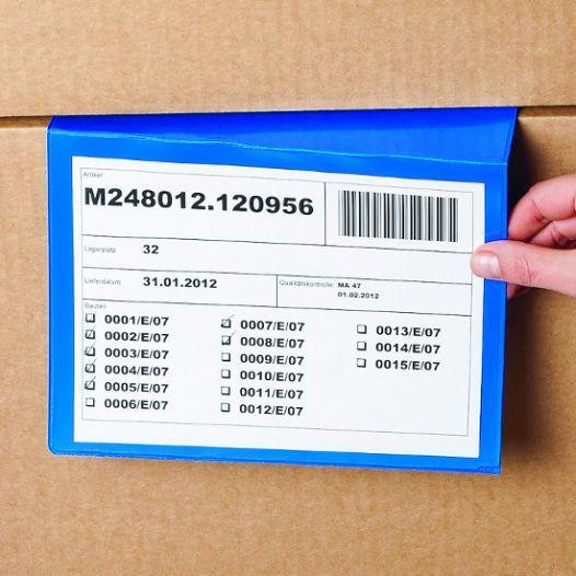 Plastic folder for stacked cartons - blue