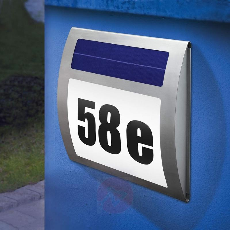 Solar house number light Wave - stainless-steel-outdoor-wall-lights