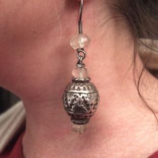 Boucles d'oreilles - Argent, cristal de roche, Inde