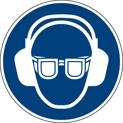 Gebotszeichen Augen- und Gehörschutz benutzen - In Anlehnung an ASR A1.3/ISO 7010