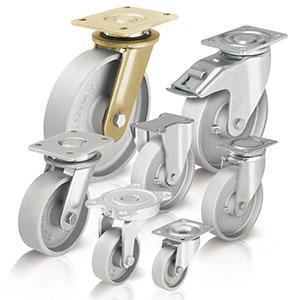 Ruote e ruote con supporto in ghisa -