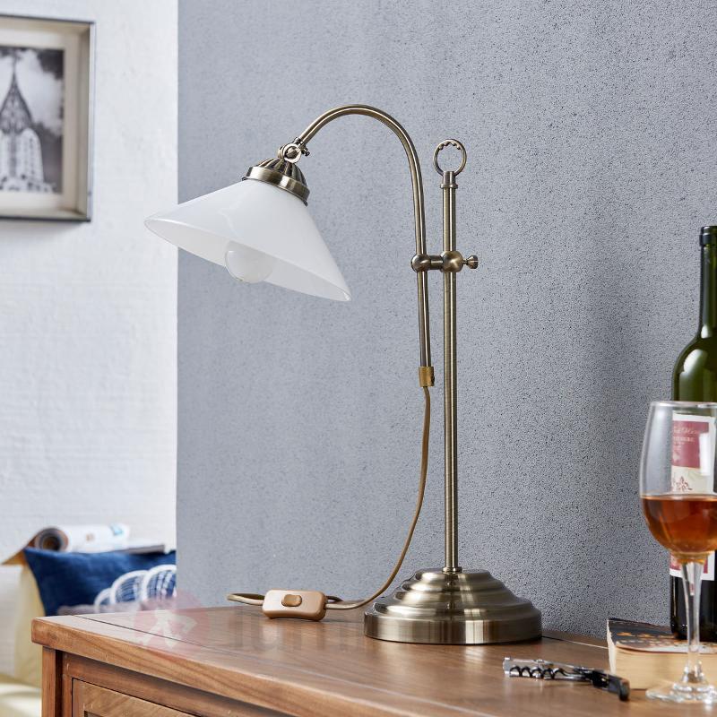 Lampe à poser classique Otis en laiton ancien - Lampes à poser classiques, antiques