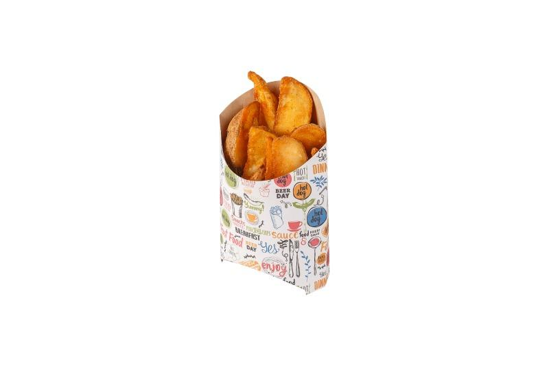 Packaging for French fries «Enjoy» - Kraft packaging for French fries with «Enjoy» print