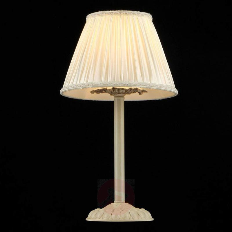 Table lamp Olivia with cream-coloured satin shade - indoor-lighting