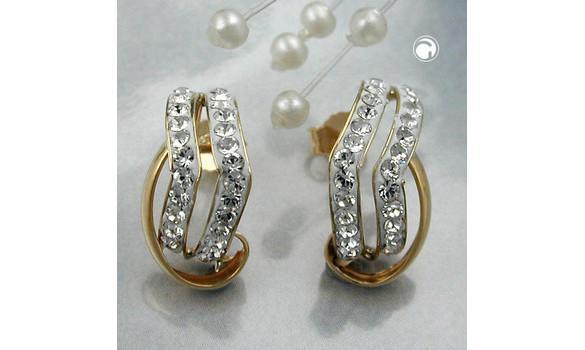 Boucles d'oreilles 9K Or zircones - Alliage: or 375/000, 9 carats