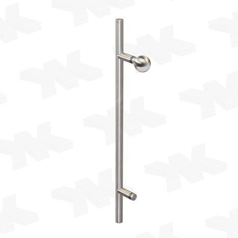 Straight single-sided pull handle with ball, Ø 25 mm, stainless steel AISI 304 - Straight single sided pull handle stainless steel