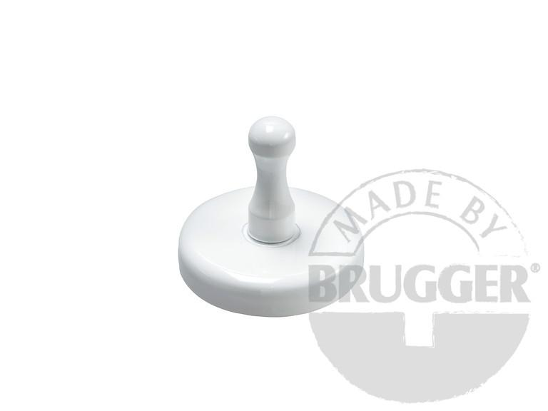 Magnet with handle, hard ferrite, white lacquered - null