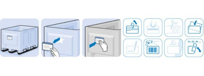 Attached Visual Pocket for labeling containers - Visual Pocke multi-use properties, attachable, self-adhesive, magnetic