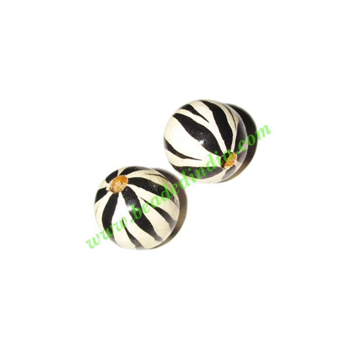 Wooden Painted Beads, Fancy Design Hand-painted beads, size  - Wooden Painted Beads, Fancy Design Hand-painted beads, size 16mm, weight approx