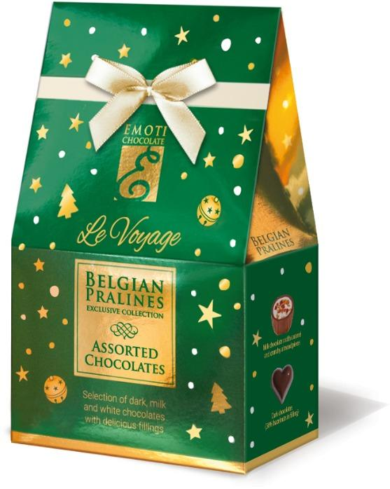 EMOTI Assorted Chocolates, GREAN-GOLD Gift Bag 75g (bow deco -
