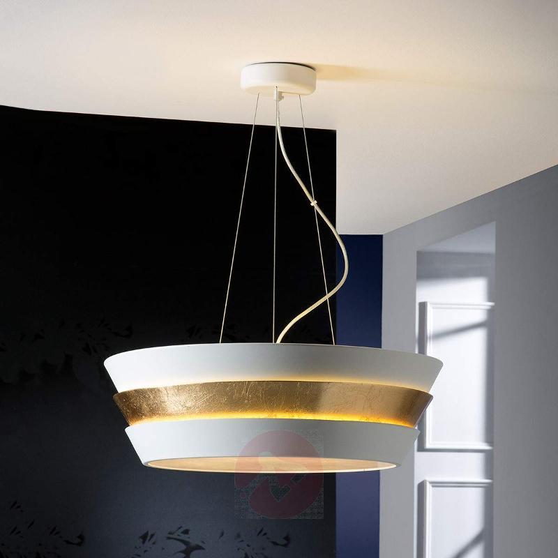 Noble hanging light Isis with gold-white lampshade - Pendant Lighting