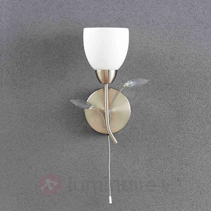 Taras - applique florale avec abat-jour en verre - Appliques chromées/nickel/inox