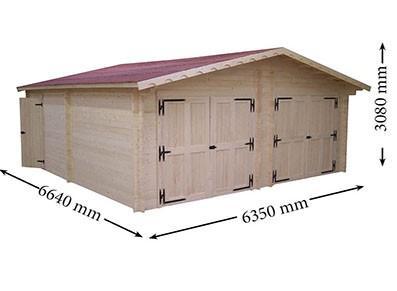 Garage double en bois - Madrier