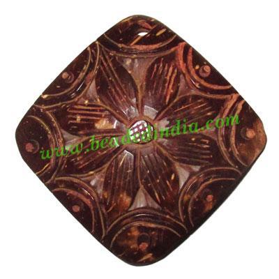 Handmade coconut shell wood pendants, size : 41x3mm - Handmade coconut shell wood pendants, size : 41x3mm