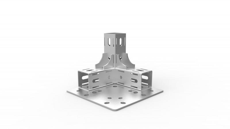 Vierkantverbinder  MC System - Verbindungselemente des Vierkantsystems 45, Aluminium und Stahl