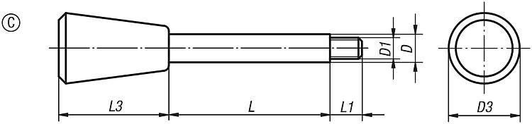 Gear Levers, Style C, metric - K0179_C Metric