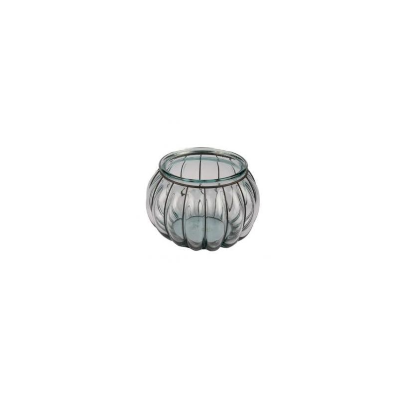Lanterne FLORERO PECERA, en verre et en fer, hauteur 18 cm - Vases, Lanternes, décoration