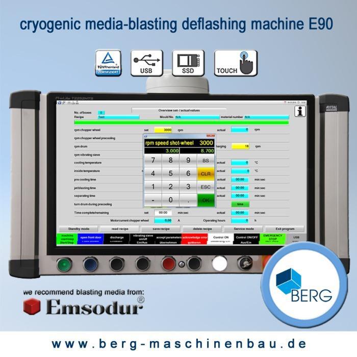 Installation d'ébavurage cryogénique E90 - pour l'ébavurage d'élastomères, plastomères, thermodurcisseurs & zinc moulé pres