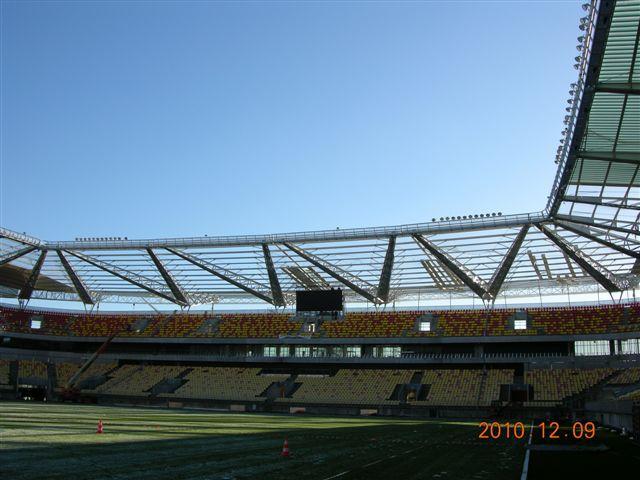 Stade du Mans, réalisation de la structure de portance de l'auvent - Construction métallique