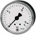 Standard pressure gauge, rear centric, G 1/4, -1 / 0 bar, 63 - Standard pressure gauges with plastic housing, connection on rear, centrical