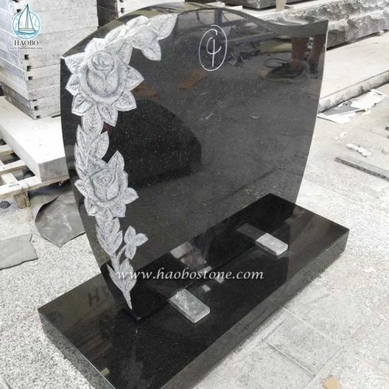 India Black Monument Flower Carved Tombstone - Tombstone Sets