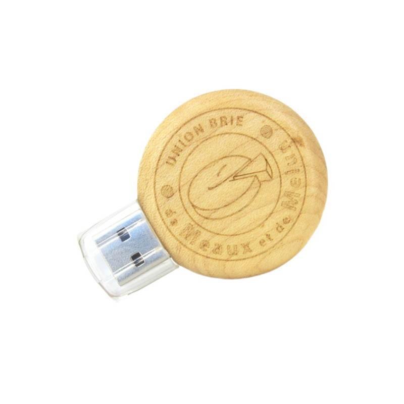 Cle USB Bois Ronde - Clé USB Bois & Biodégradable