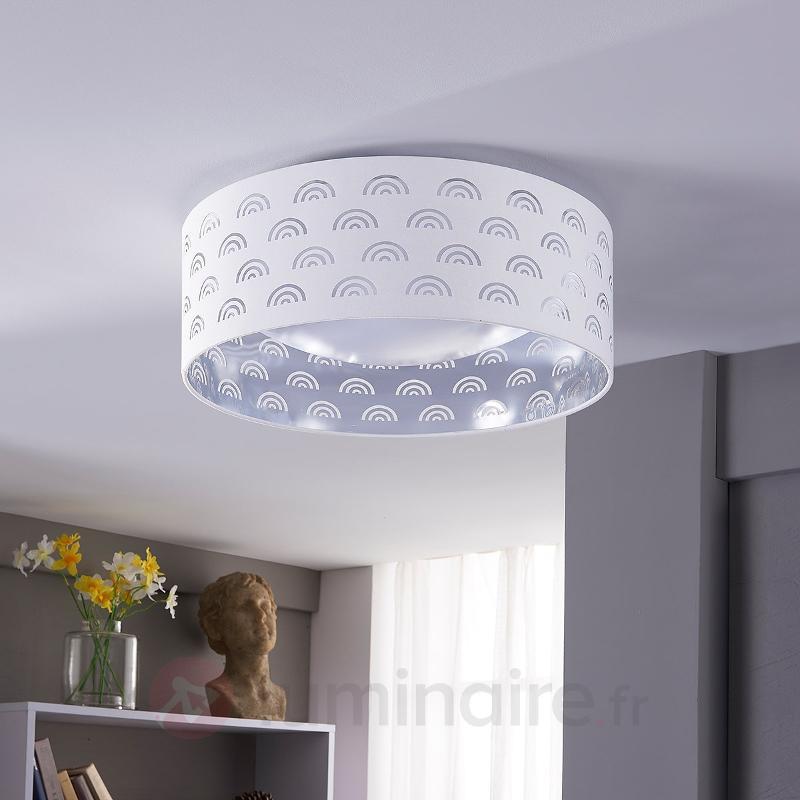 Plafonnier LED Jorunn en blanc, intérieur argenté - Plafonniers en tissu