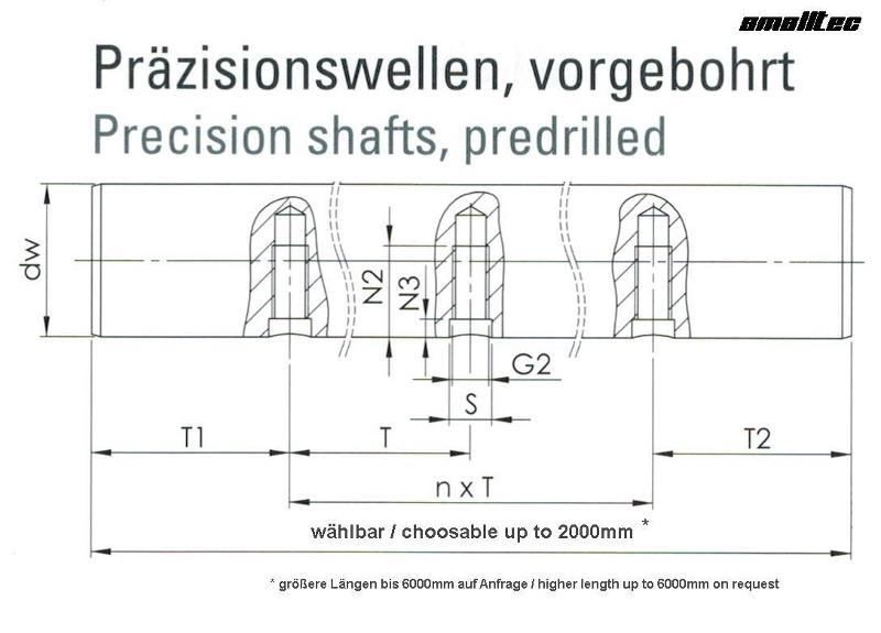 Predrilled shafts - Predrilled shaft dia 12h7 in Cf53-chromed M4-75