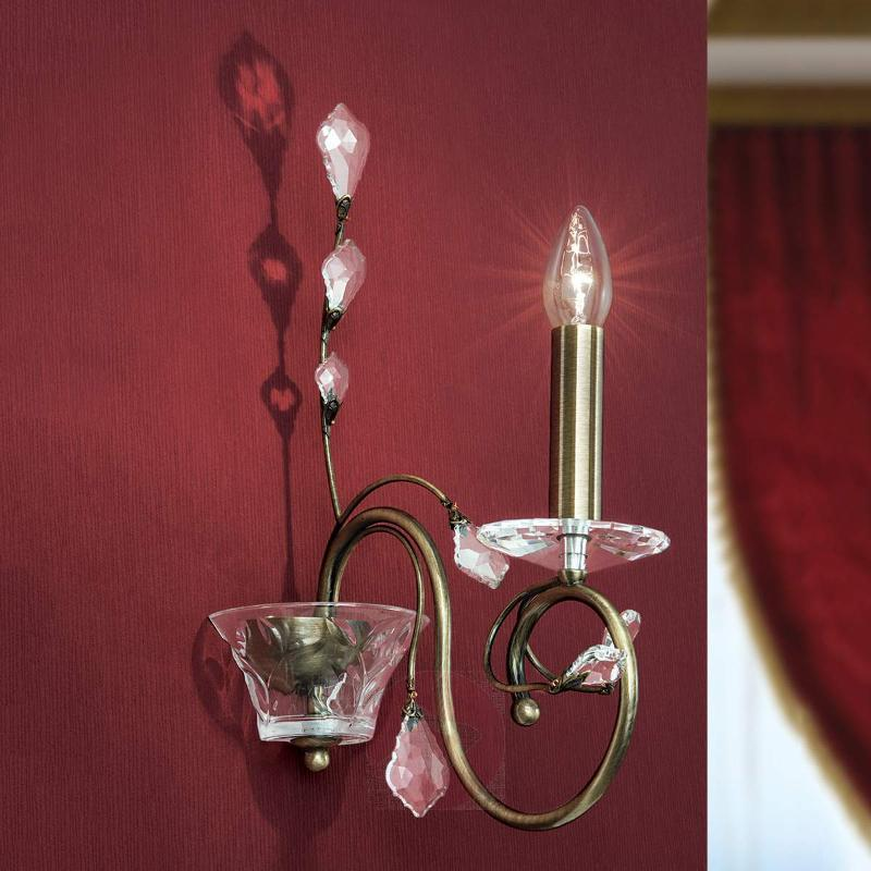 wall lamp Zia with pendant crystal ornaments - Wall Lights