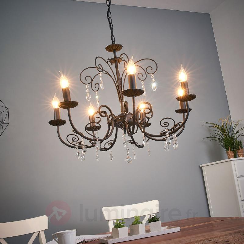 Lustre à 7 lampes Sophina avec du cristal - Lustres classiques,antiques