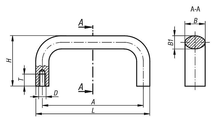 Poignée de manutention ovale - Poignées de manutention, poignées tubulaires et poignées alcôve