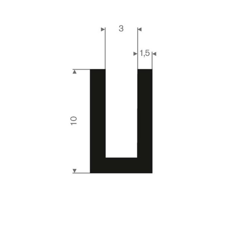 Vollgummi U-Profil 3mm / BxH= 6x10mm - Gummiprofile